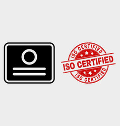 certificate icon and distress iso certified vector image
