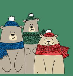 christmas card with white santa bears family vector image