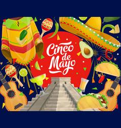 cinco de mayo fiesta mexican sombrero and avocado vector image
