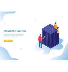 cloud server hosting technology with isometric vector image