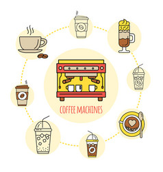 Coffee shop flat line collection drink consept vector