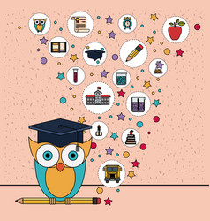 color background with sparkles of owl on pencil vector image