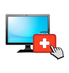 computer and health vector image