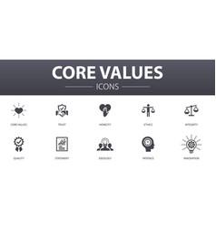 Core values simple concept icons set contains vector