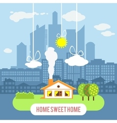 Country house with big industrial city on the vector image