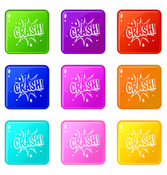 Crash explosion icons 9 set vector