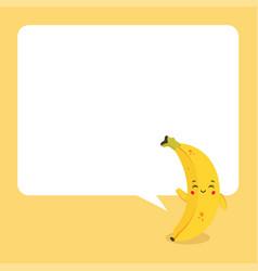 Cute banana with speech bubbles vector