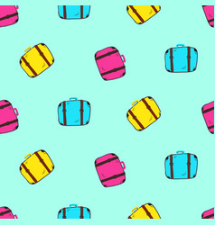 cute bright colorful seamless suitcases pattern vector image