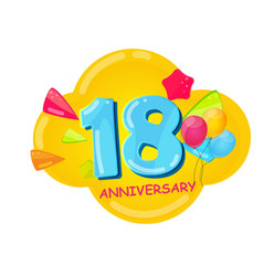 Cute cartoon template 18 years anniversary vector