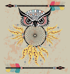 Cute cartoon tribal owl with feathers on a white vector