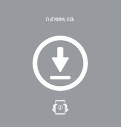 download button - flat minimal icon vector image