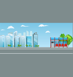 Empty bus stop with city skyline flat design style vector