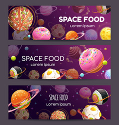 Fast food space banners promotion vector