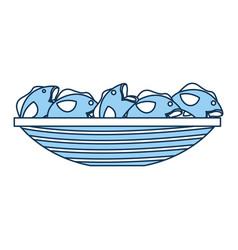 Fishing canoe with fish vector