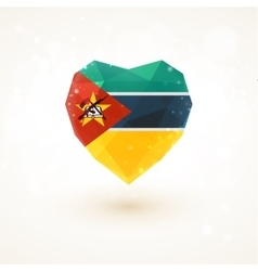 Flag of Mozambique in shape diamond glass heart vector