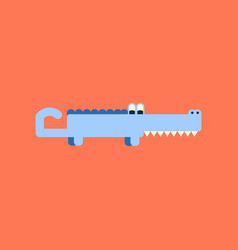 Flat icon on background cartoon crocodile vector