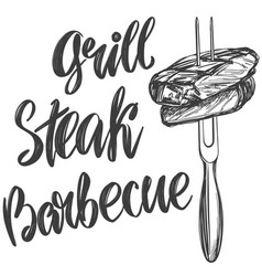 food meat steak on a skewer roast calligraphic vector image
