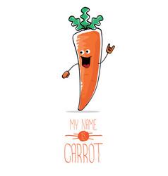 Funny cartoon orange carrot isolated vector