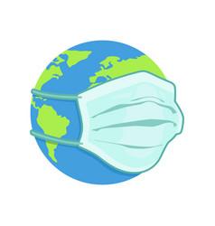 globe earth wearing medical mask vector image