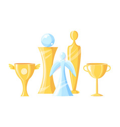 gold and glass awards set vector image