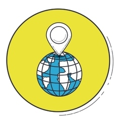 Gps mark and planet inside green button design vector