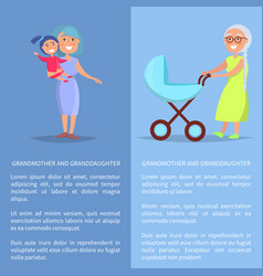 Grandmother and granddaughter posters with ladies vector
