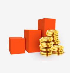 growing stack golden dollar coins with rising vector image