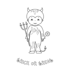 Halloween coloring page with cute devil vector image