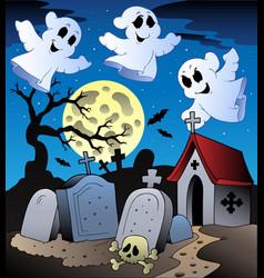 halloween scenery with cemetery 2 vector image