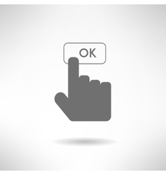 Hand with finger clicking ok button in modern flat vector