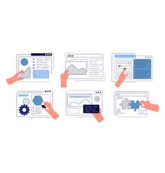 hands programming app engineering apps ui hand vector image