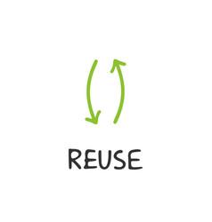 Handwritten lettering of reuse vector