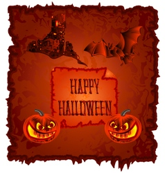 Happy Halloween pumpkin and haunted castle vector image