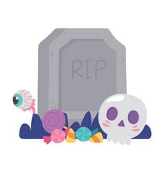 happy halloween tombstone skull creepy eye and vector image