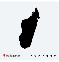 High detailed map of madagascar with navigation vector