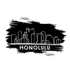 honolulu skyline silhouette hand drawn sketch vector image