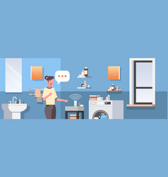 Housewife using smart speaker voice recognition vector