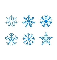 isolated set snowflakes on white vector image