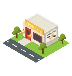 Isometric restaurant building icon vector