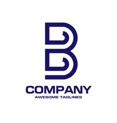 Letter b geometric business logo design vector