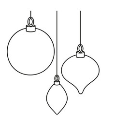 line art black white christmas tree decorations vector image