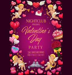 love holiday gifts and hearts valentine day party vector image