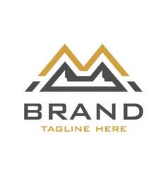 m mountain initial logo design vector image