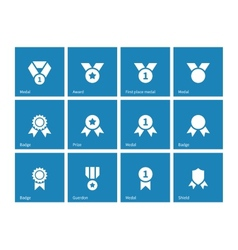 Medal and awards icons on blue background vector image