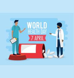 Men doctors with medicine to health day vector