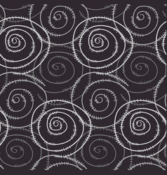 Monochrome pattern with hand drawn round spirals vector
