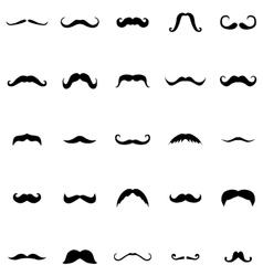 Mustache silhouette set vector