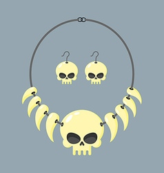 Necklace skull and tusks beads aboriginal vector