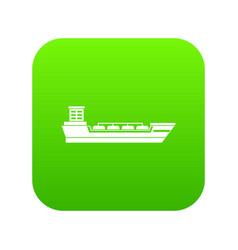 oil tanker ship icon digital green vector image