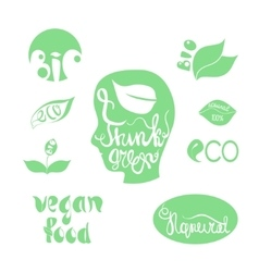 Organicbioecology natural logotypes elements set vector image